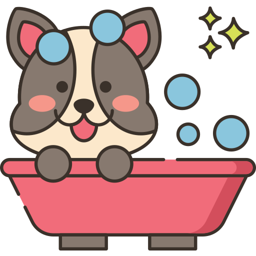 Dog getting washed icon