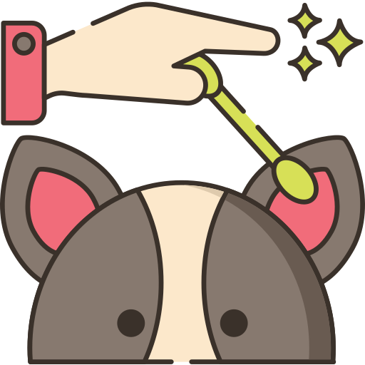 Cleaning dogs ears icon